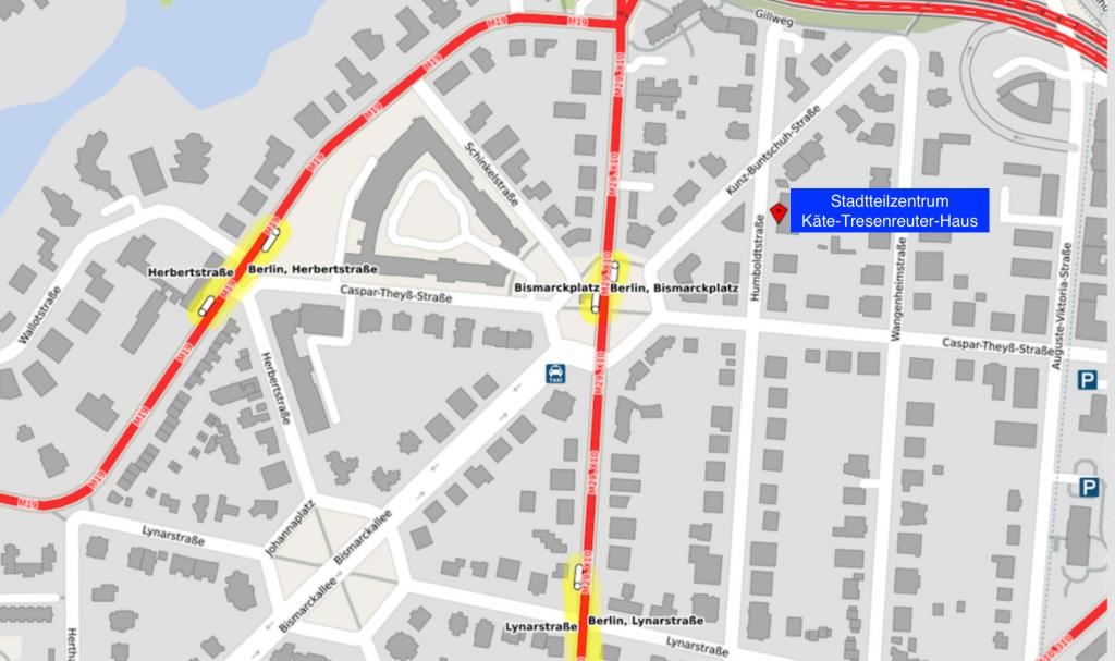 Anfahrtskarte zum Stadtteilzentrum
